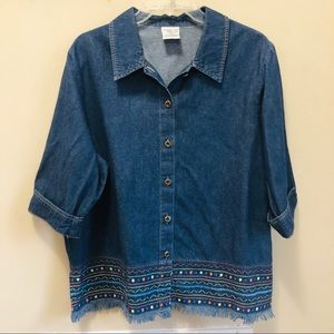 Vintage Allison Daley Denim Short Sleeve Blouse 16